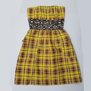 Plenty by Tracy Reese yellow plaid strapless dress